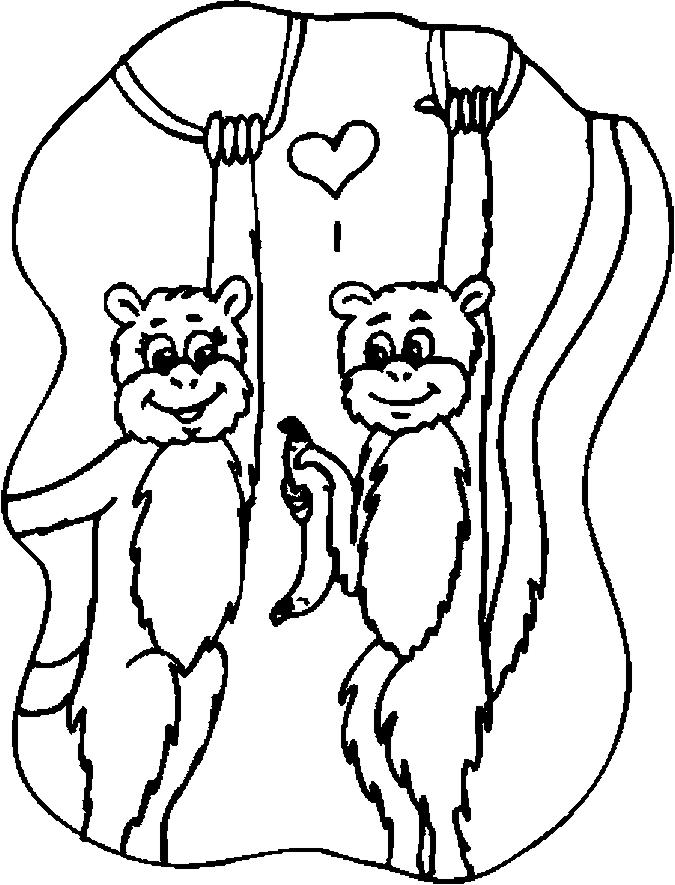 Lovers – Monkeys Coloring Page