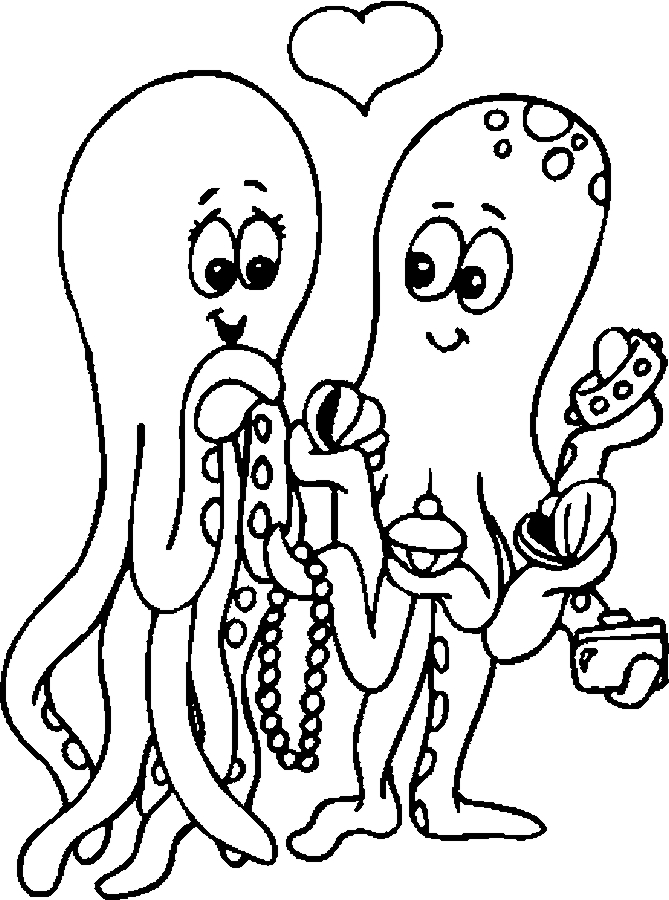 Lovers – Octopi Coloring Page