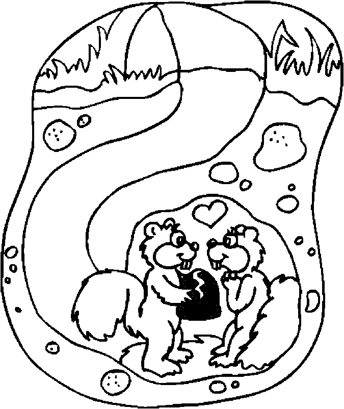 Lovers – Squirrels Coloring Page