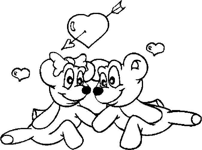 Lovers – Teddy Bears Coloring Page