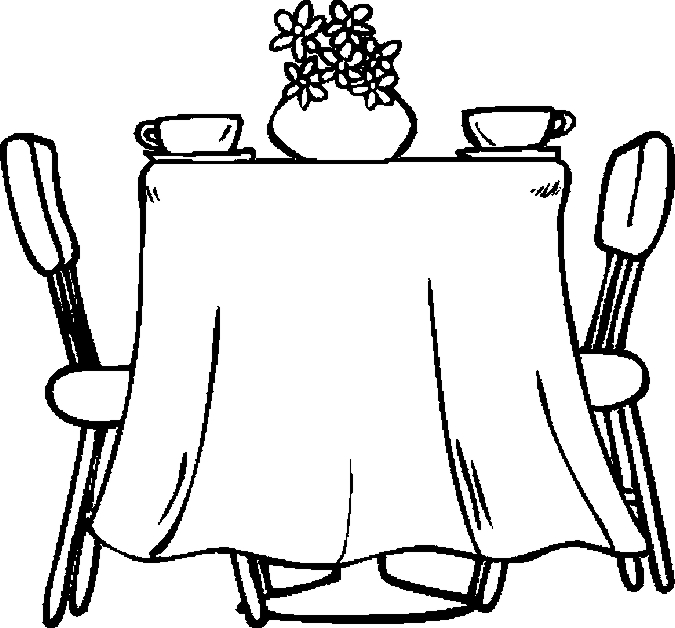 Coloring Pages For Restaurants : Table dining room coloring page color book